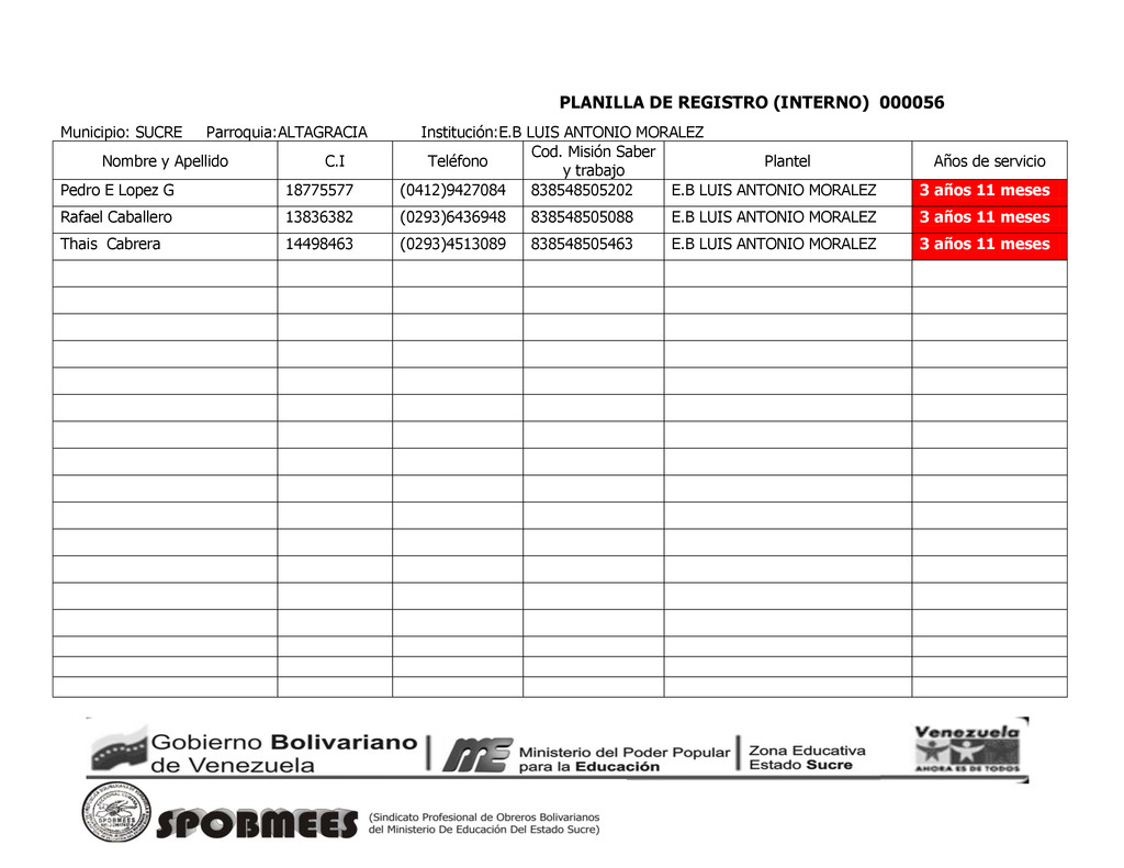 PLANILLA DE REGISTRO (INTERNO) 000056 Municipio...