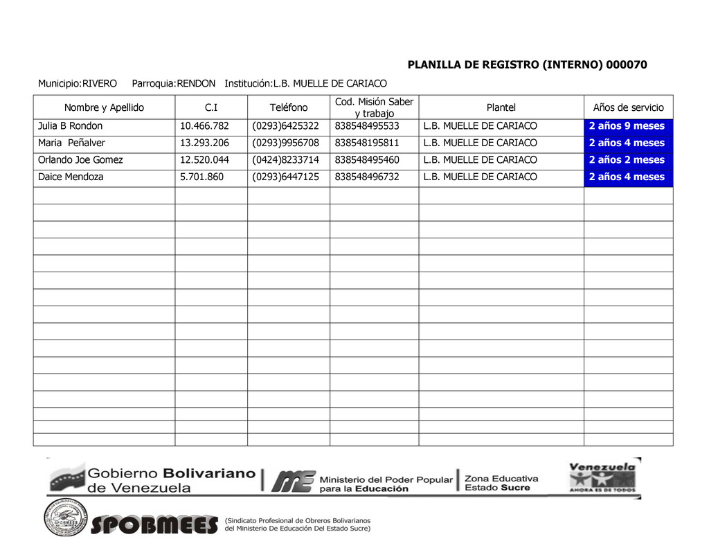 PLANILLA DE REGISTRO (INTERNO) 000070 Municipio...