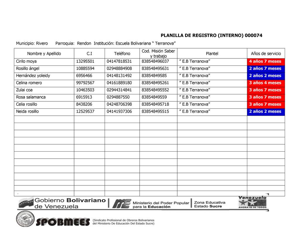 PLANILLA DE REGISTRO (INTERNO) 000074 Municipio...