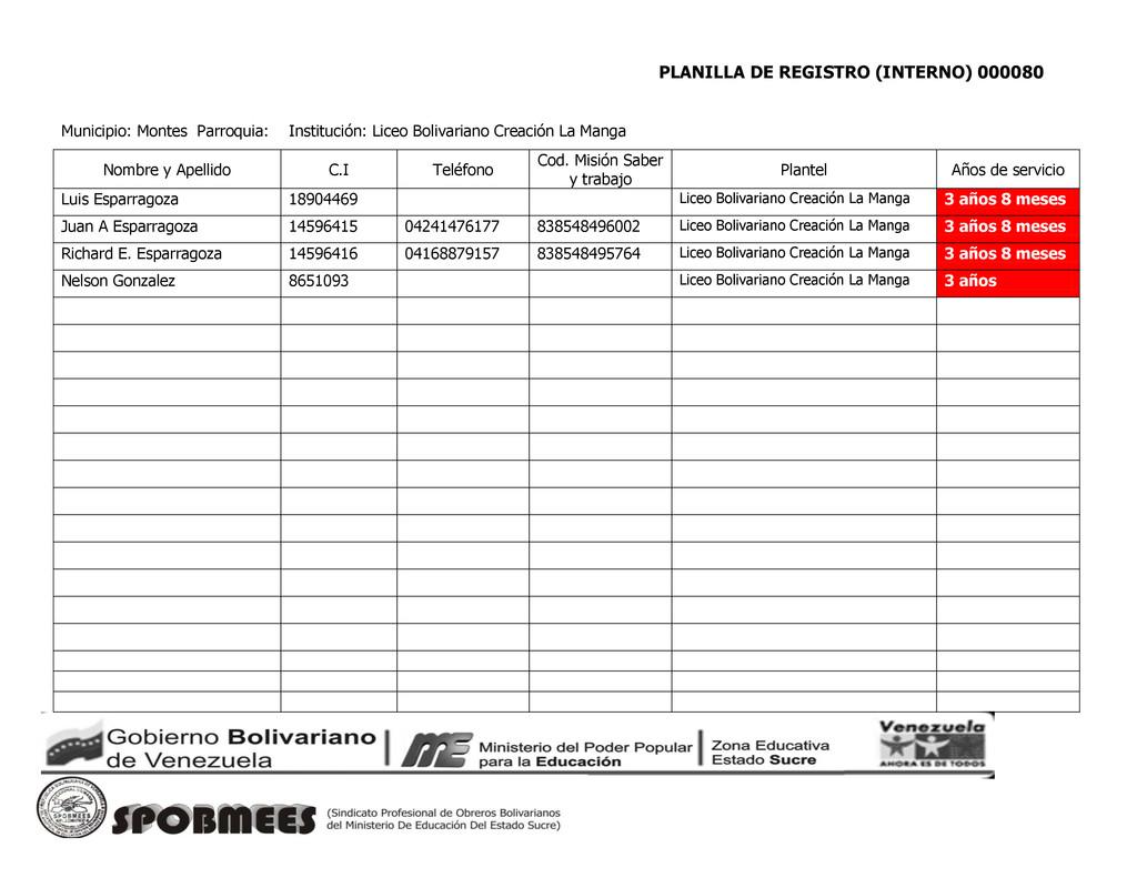 PLANILLA DE REGISTRO (INTERNO) 000080 Municipio...