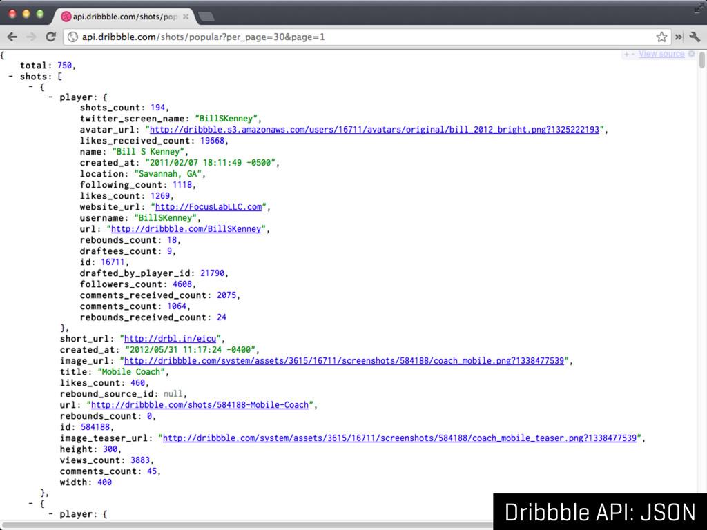 Dribbble API: JSON