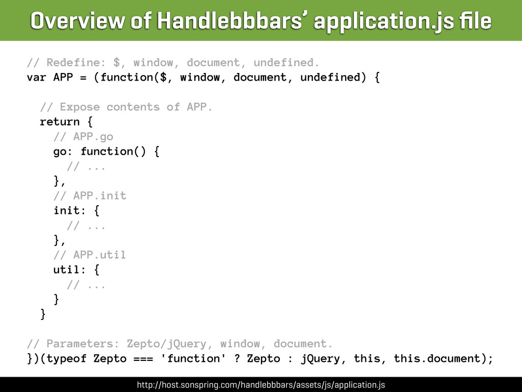 // Redefine: $, window, document, undefined. va...