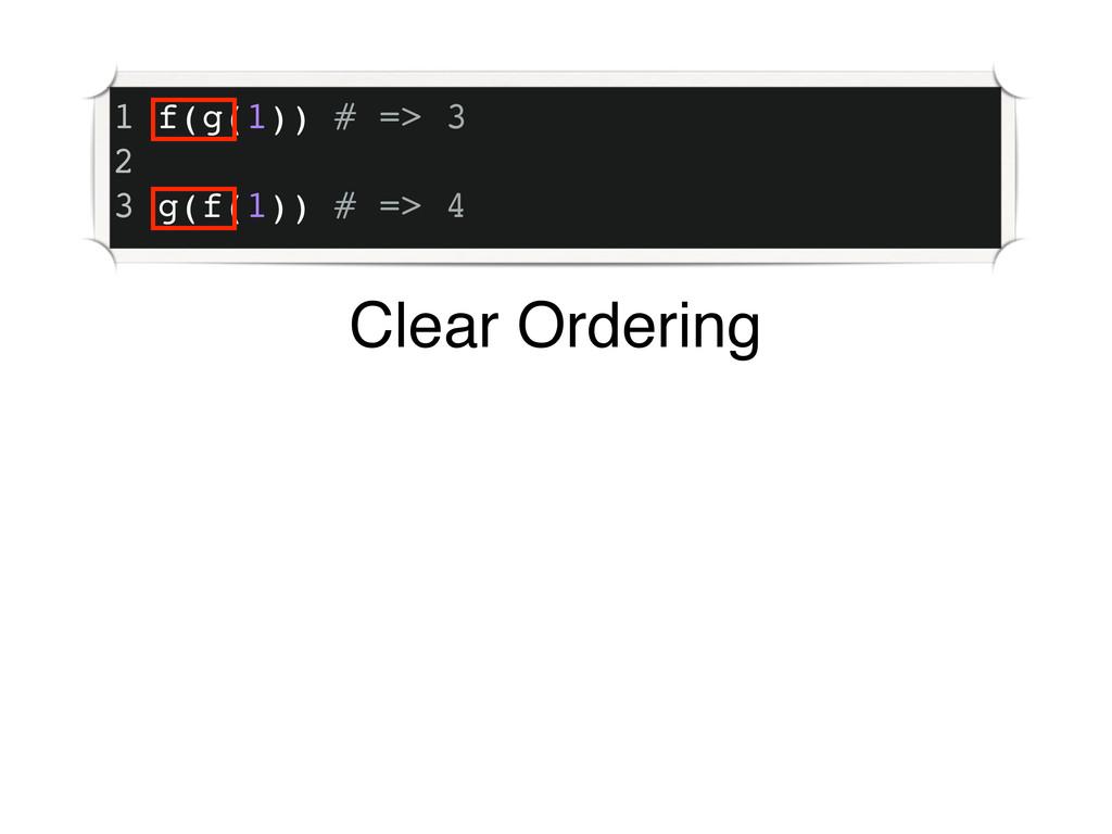 1 f(g(1)) # => 3 2 3 g(f(1)) # => 4 Clear Order...