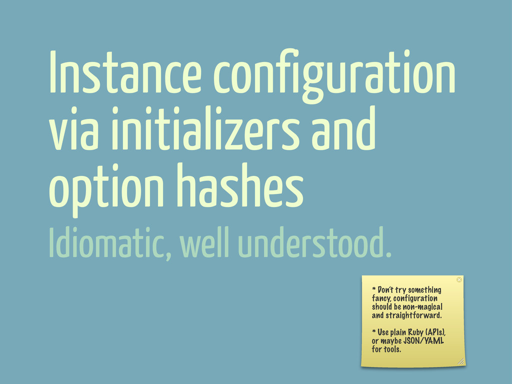 Instance configuration via initializers and opt...