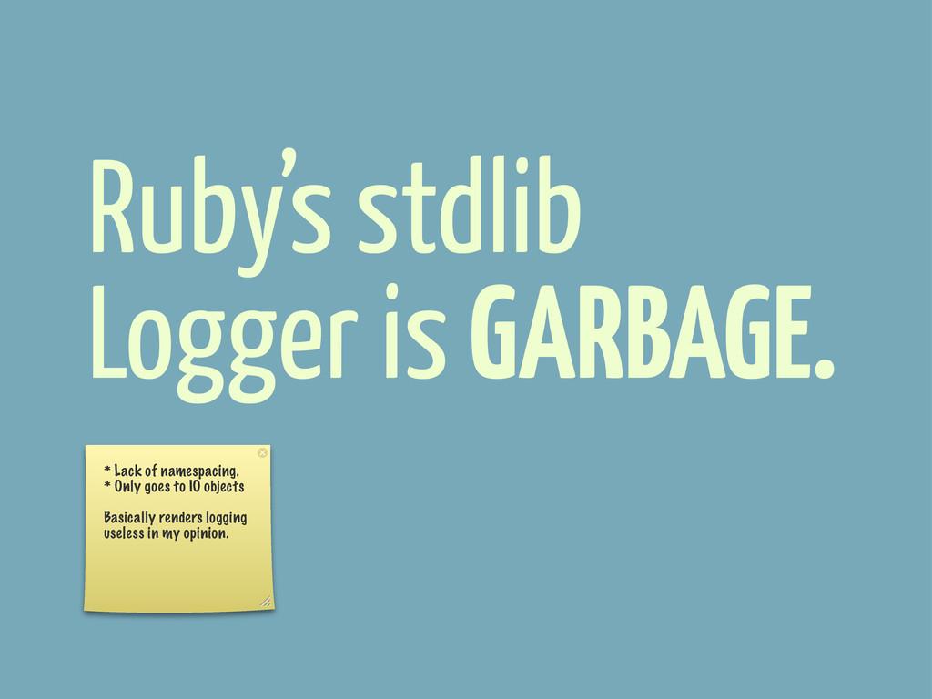 Ruby's stdlib Logger is GARBAGE. * Lack of name...
