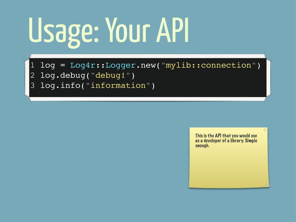 """Usage: Your API 1 log = Log4r::Logger.new(""""myli..."""