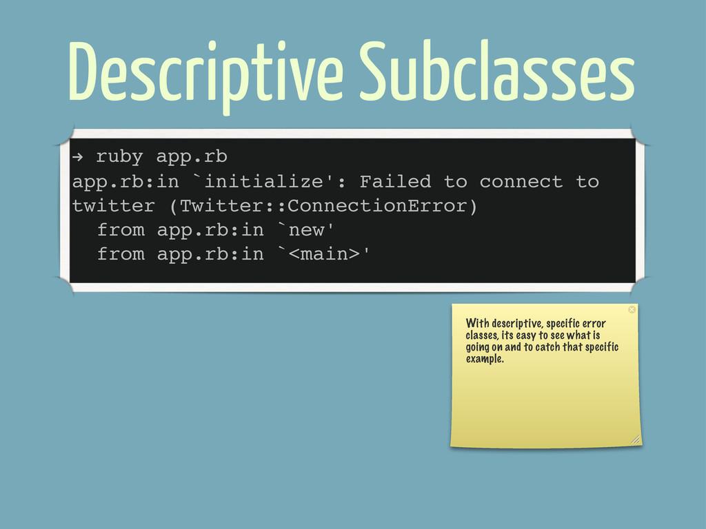 Descriptive Subclasses ! ruby app.rb app.rb:in ...