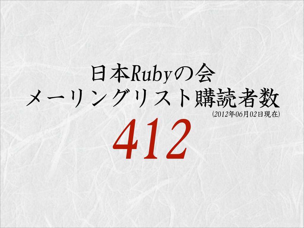 日本Rubyの会 メーリングリスト購読者数 412 (2012年06月02日現在)