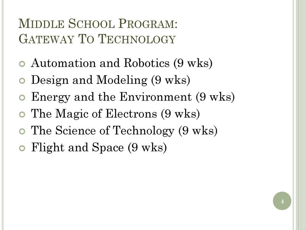 MIDDLE SCHOOL PROGRAM: GATEWAY TO TECHNOLOGY  ...