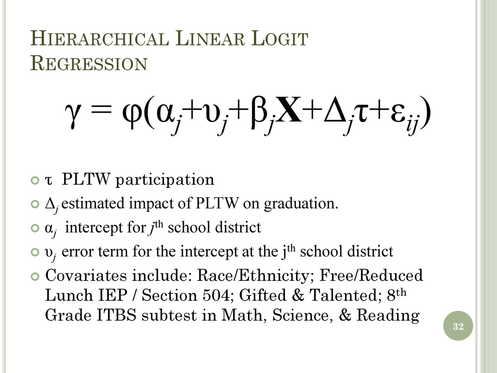 HIERARCHICAL LINEAR LOGIT REGRESSION 32 γ = φ(α...