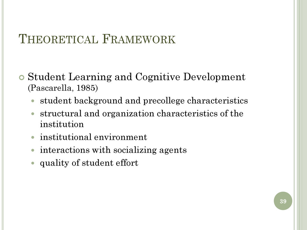 THEORETICAL FRAMEWORK  Student Learning and Co...