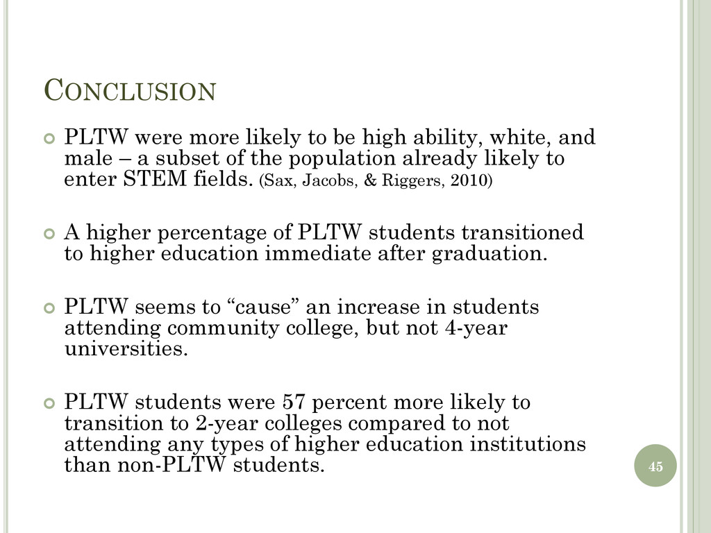 CONCLUSION  PLTW were more likely to be high a...