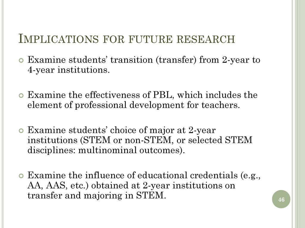 IMPLICATIONS FOR FUTURE RESEARCH  Examine stud...