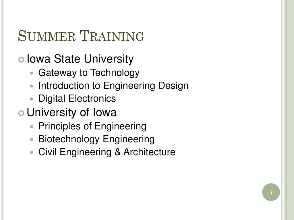 SUMMER TRAINING  Iowa State University  Gatew...