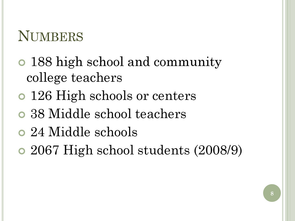 NUMBERS  188 high school and community college...