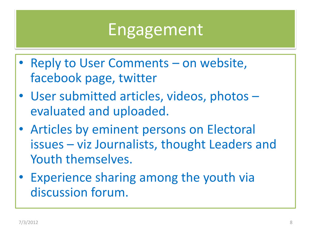 Engagement • Reply to User Comments – on websit...