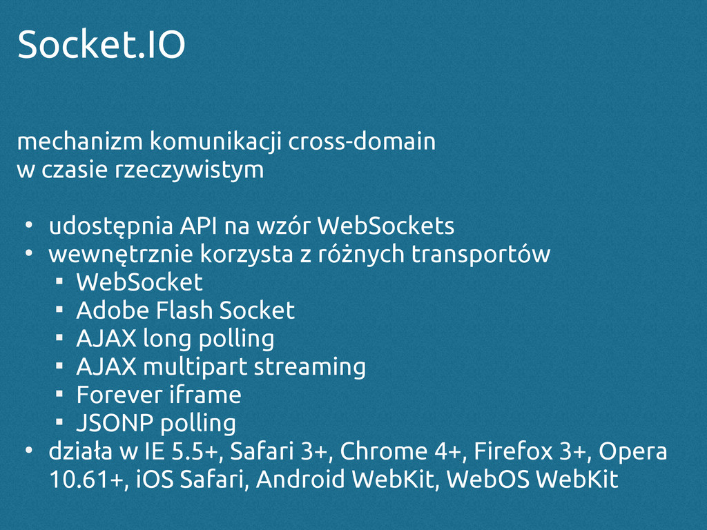 Socket.IO mechanizm komunikacji cross-domain w ...
