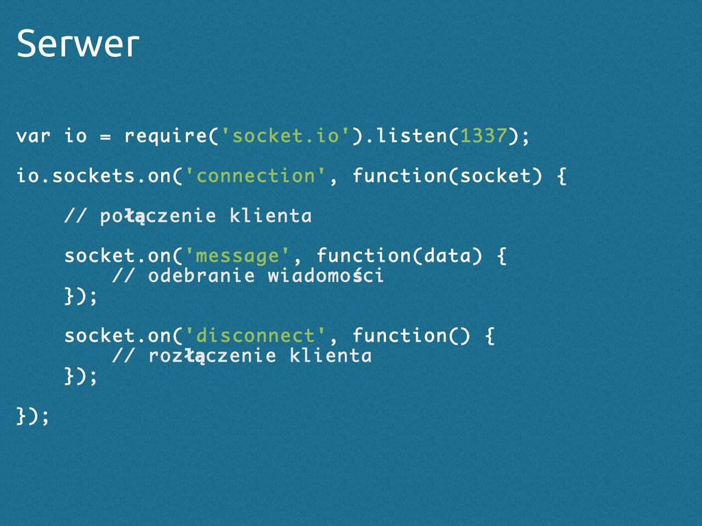 Serwer var io = require('socket.io').listen(133...