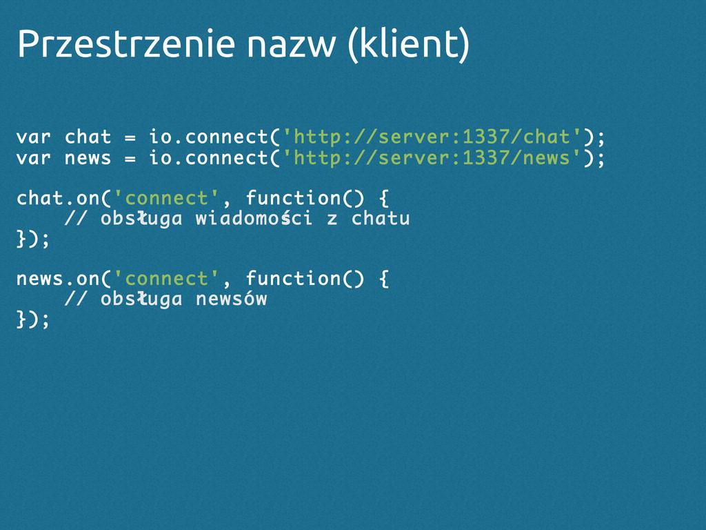 Przestrzenie nazw (klient) var chat = io.connec...