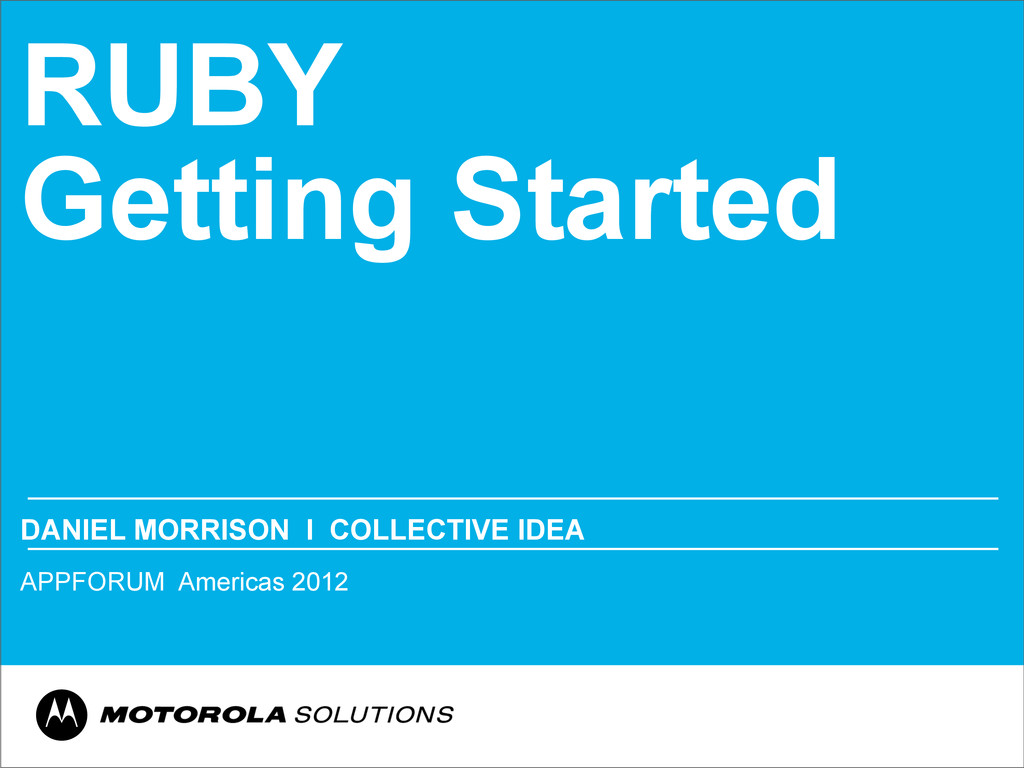 RUBY Getting Started DANIEL MORRISON Ι COLLECTI...