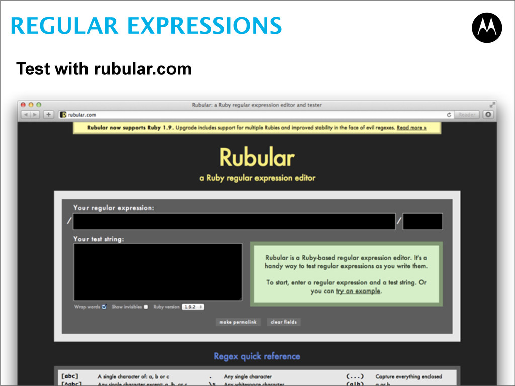 REGULAR EXPRESSIONS Test with rubular.com