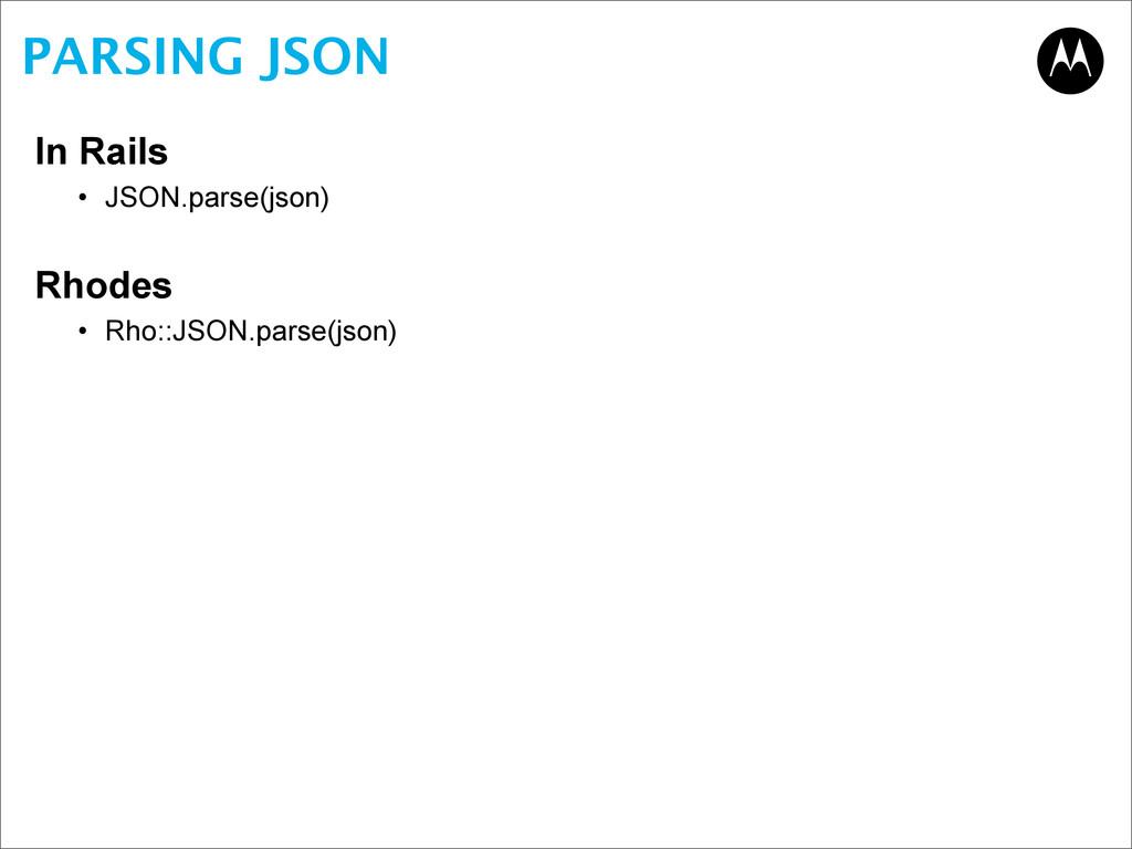 PARSING JSON In Rails • JSON.parse(json) Rhodes...