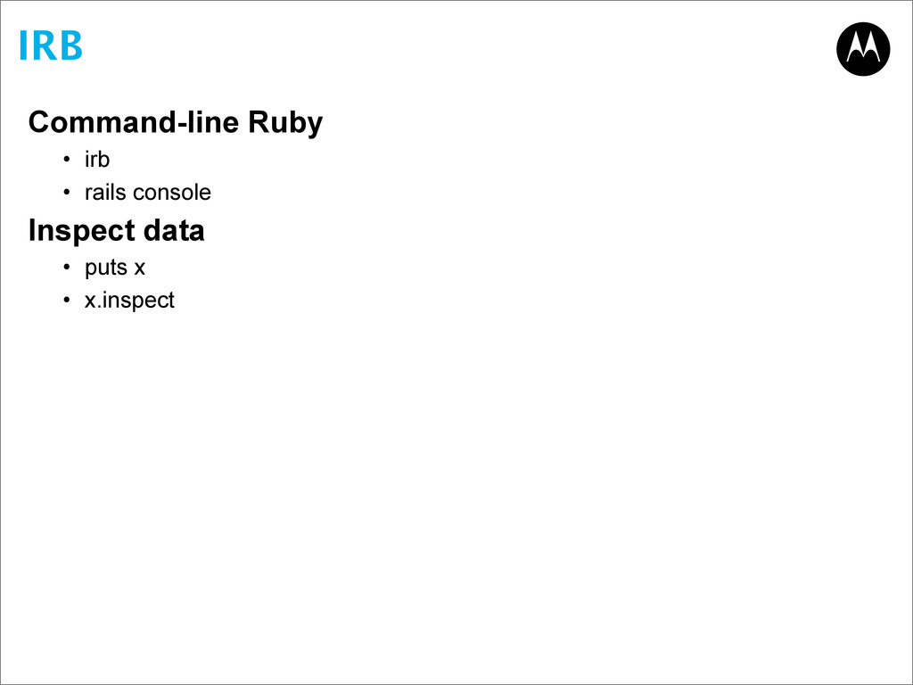 IRB Command-line Ruby • irb • rails console Ins...