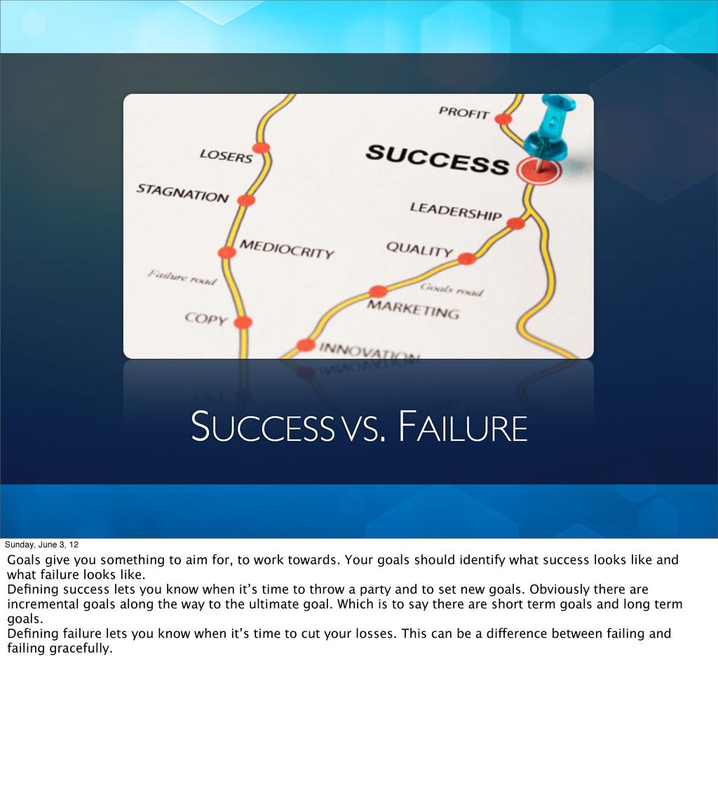 SUCCESS VS. FAILURE Sunday, June 3, 12 Goals gi...