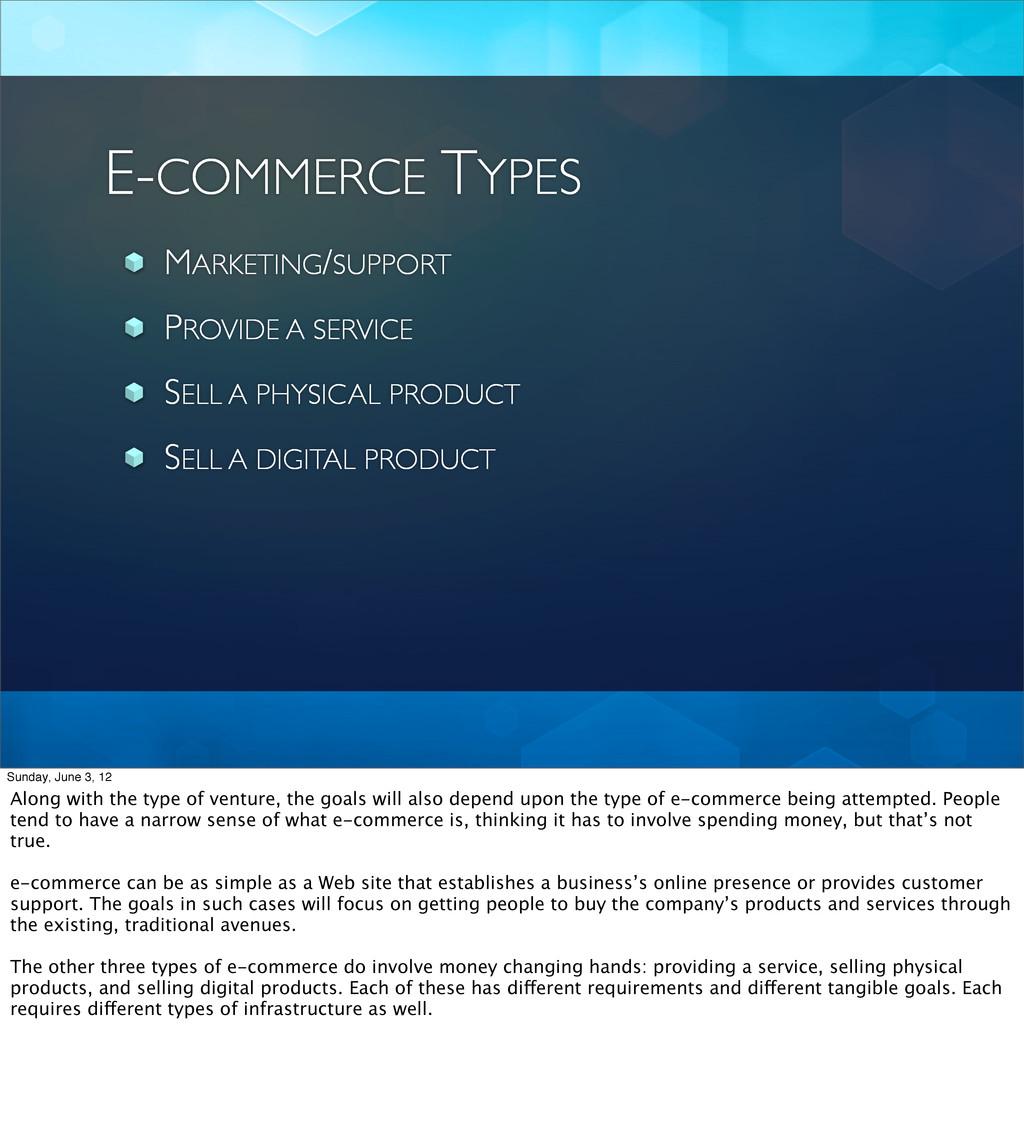 E-COMMERCE TYPES MARKETING/SUPPORT PROVIDE A SE...