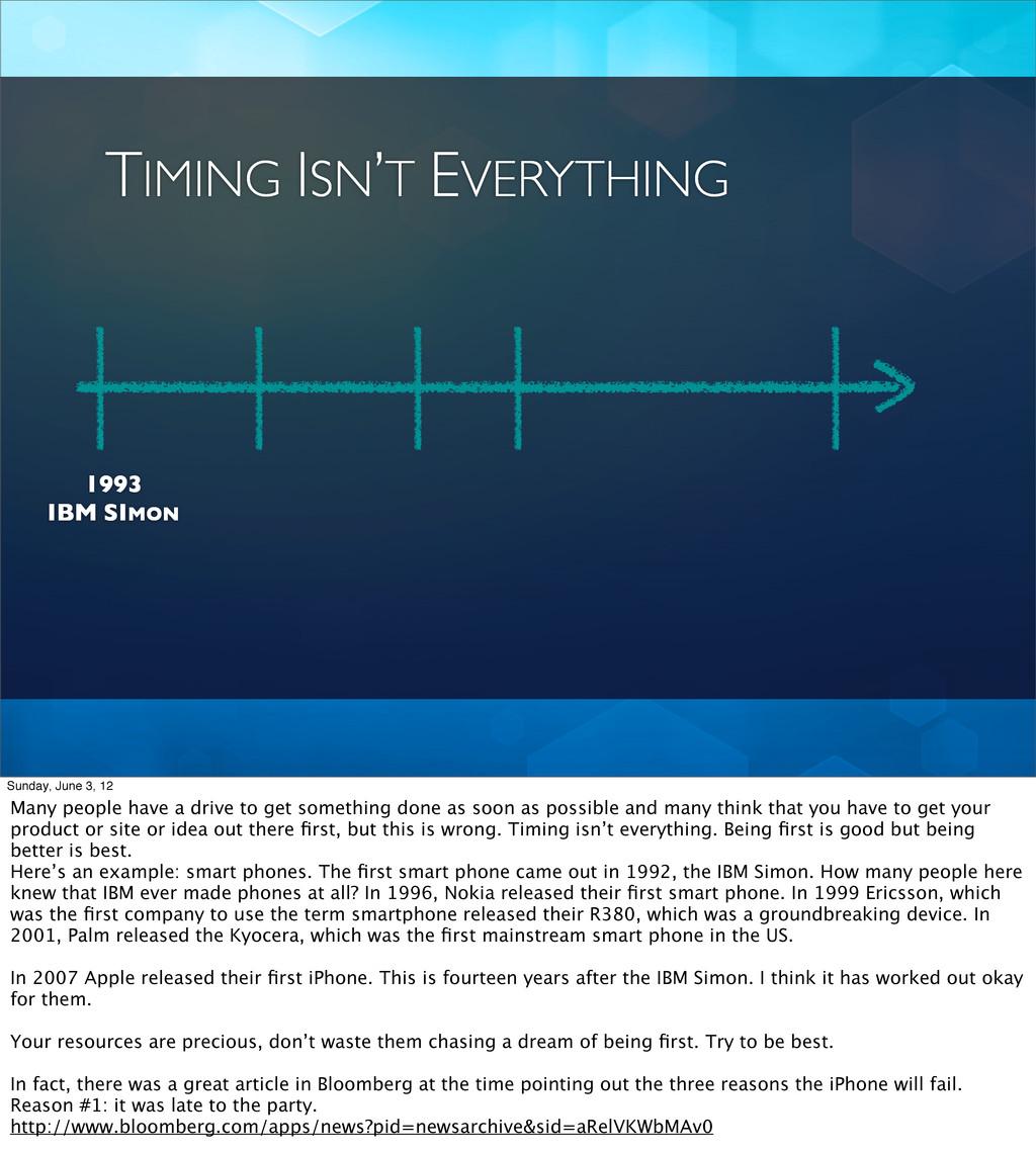 TIMING ISN'T EVERYTHING 1993 IBM SIMON Sunday, ...