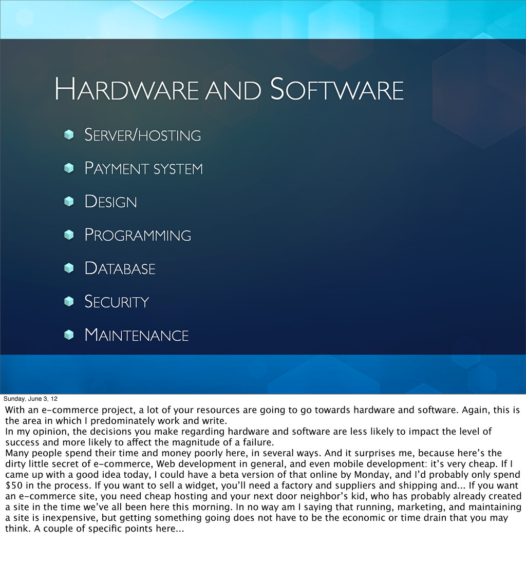 HARDWARE AND SOFTWARE SERVER/HOSTING PAYMENT SY...
