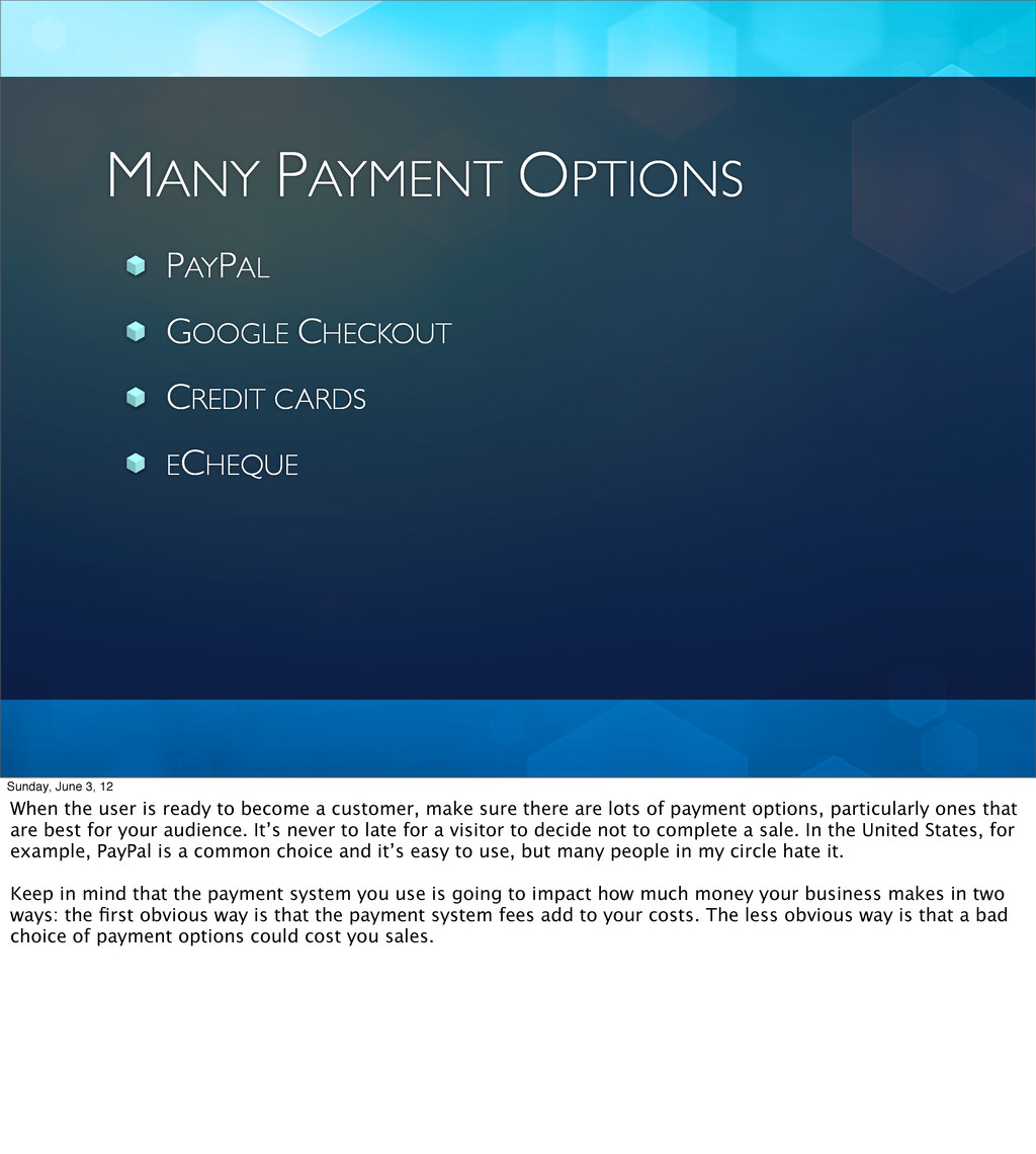MANY PAYMENT OPTIONS PAYPAL GOOGLE CHECKOUT CRE...