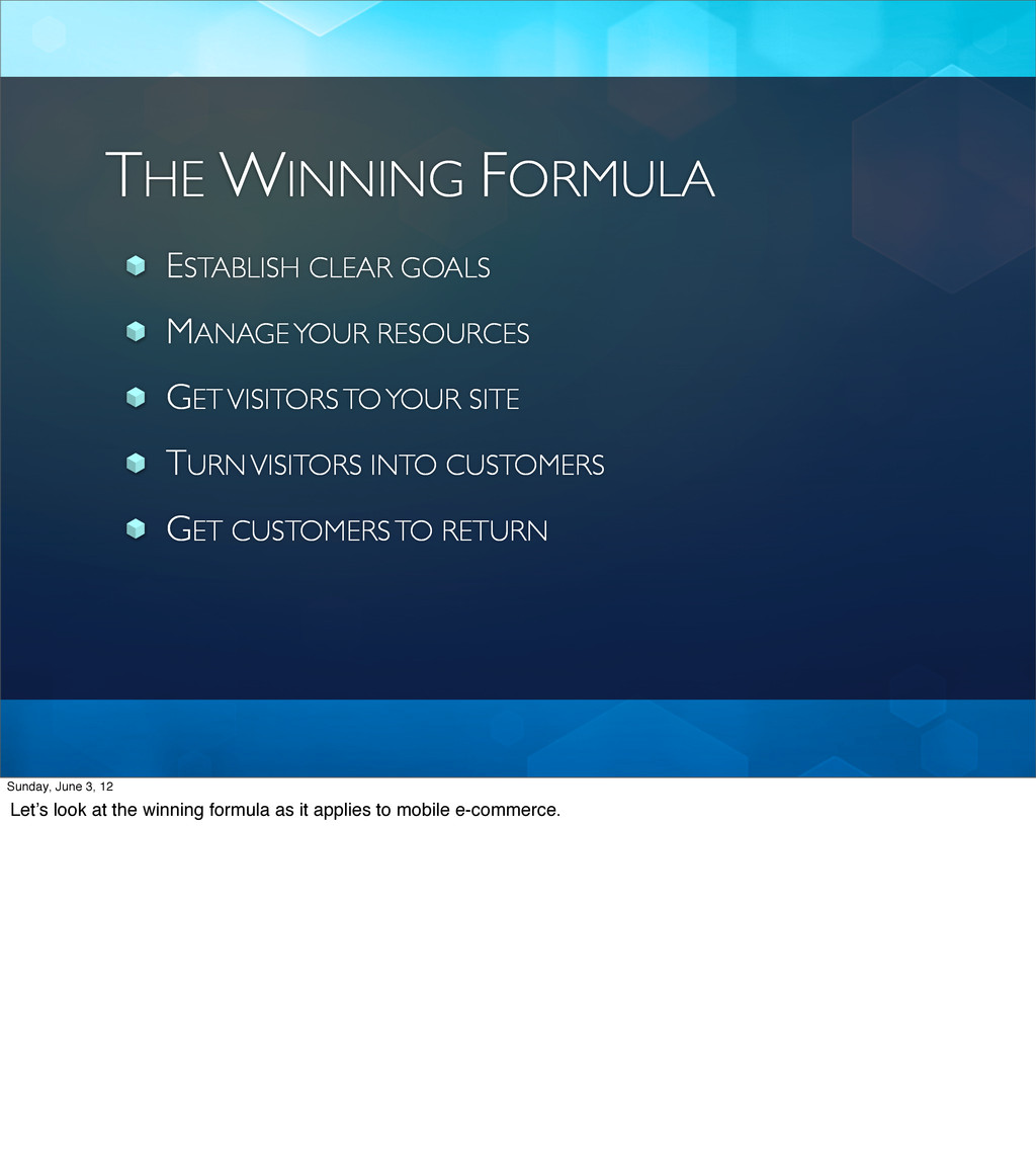 THE WINNING FORMULA ESTABLISH CLEAR GOALS MANAG...