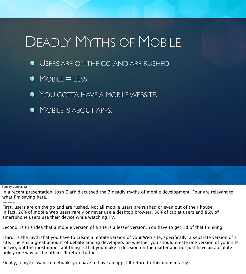 DEADLY MYTHS OF MOBILE USERS ARE ON THE GO AND ...