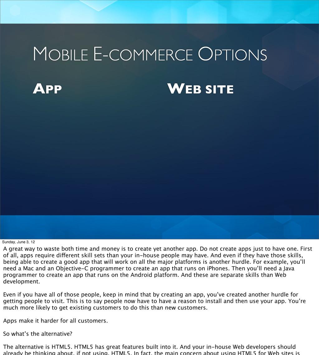 APP WEB SITE MOBILE E-COMMERCE OPTIONS Sunday, ...