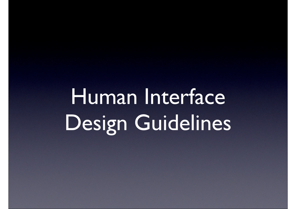 Human Interface Design Guidelines