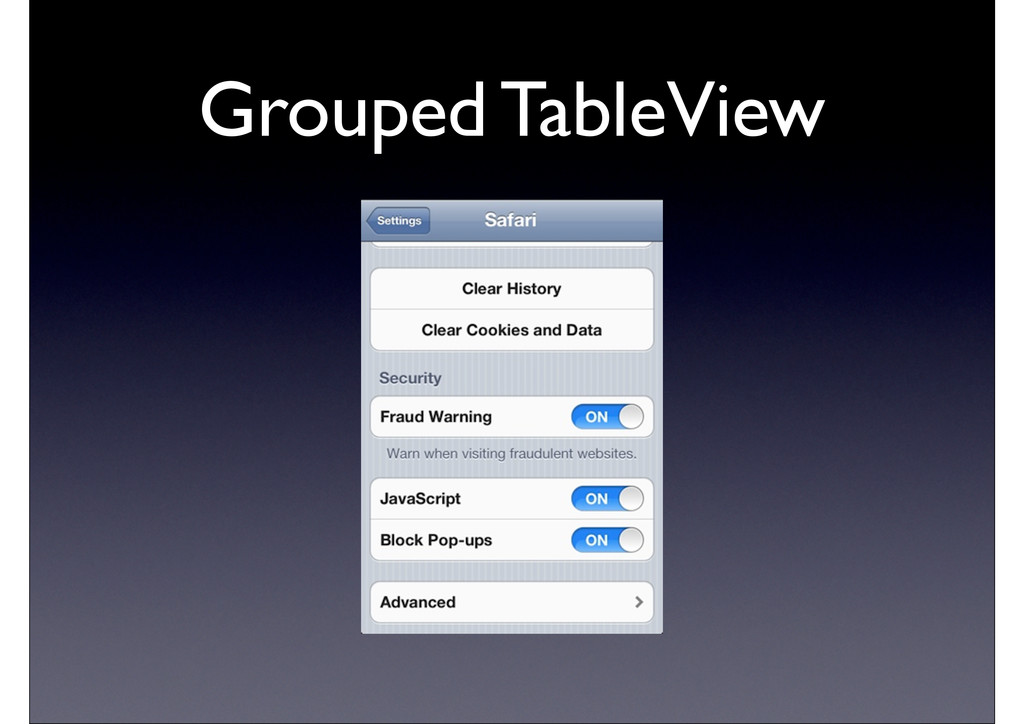 Grouped TableView