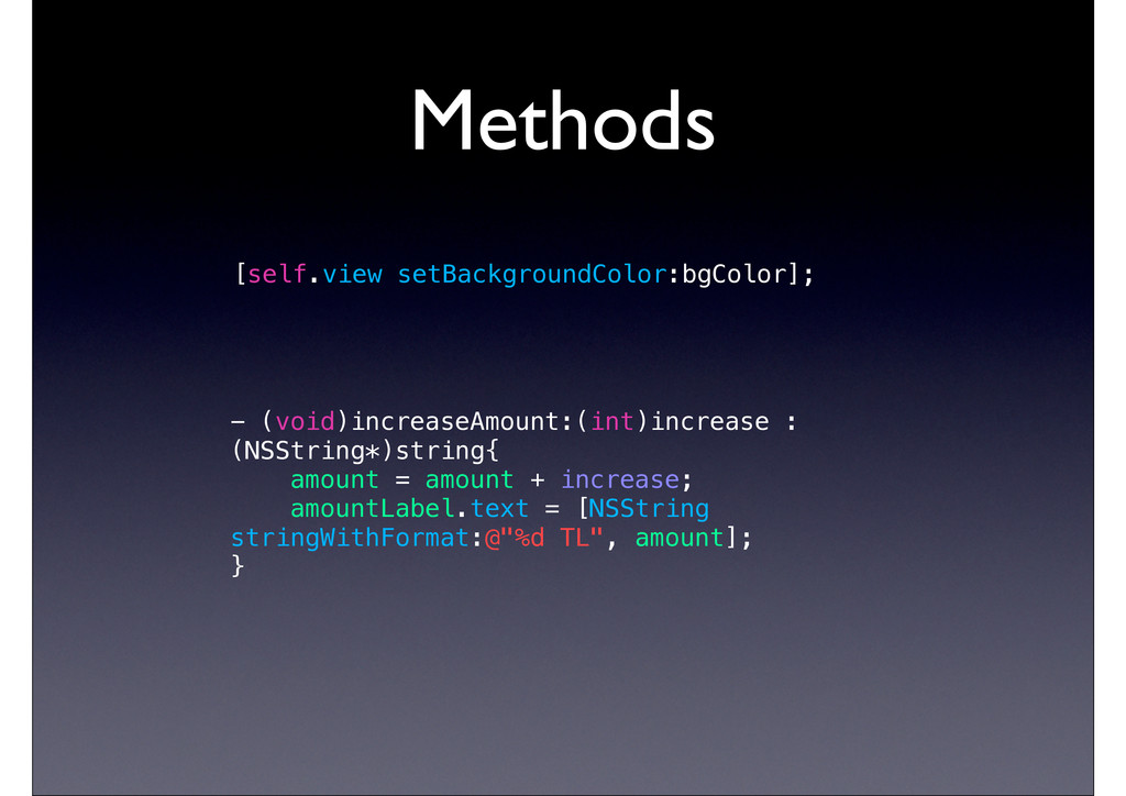 Methods [self.view setBackgroundColor:bgColor];...