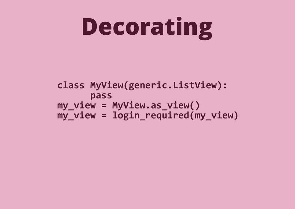 Decorating class MyView(generic.ListView): pass...