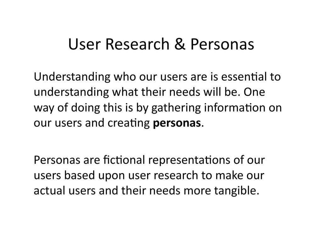 User Research & Personas  Understan...