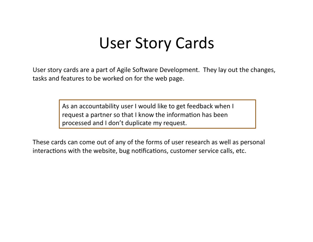 User Story Cards  User story car...
