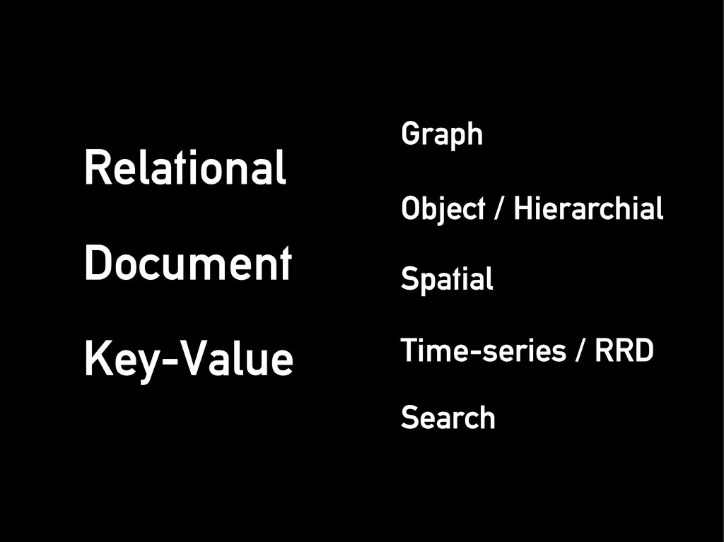 Relational Relational Document Document Key-Val...