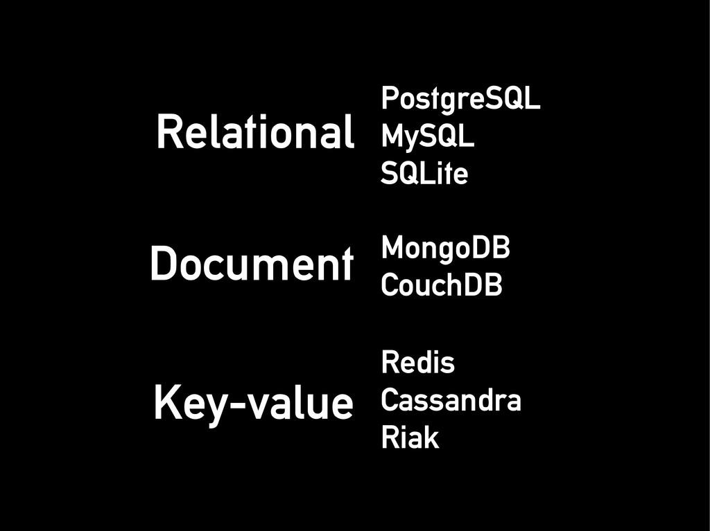 Relational Relational PostgreSQL PostgreSQL MyS...