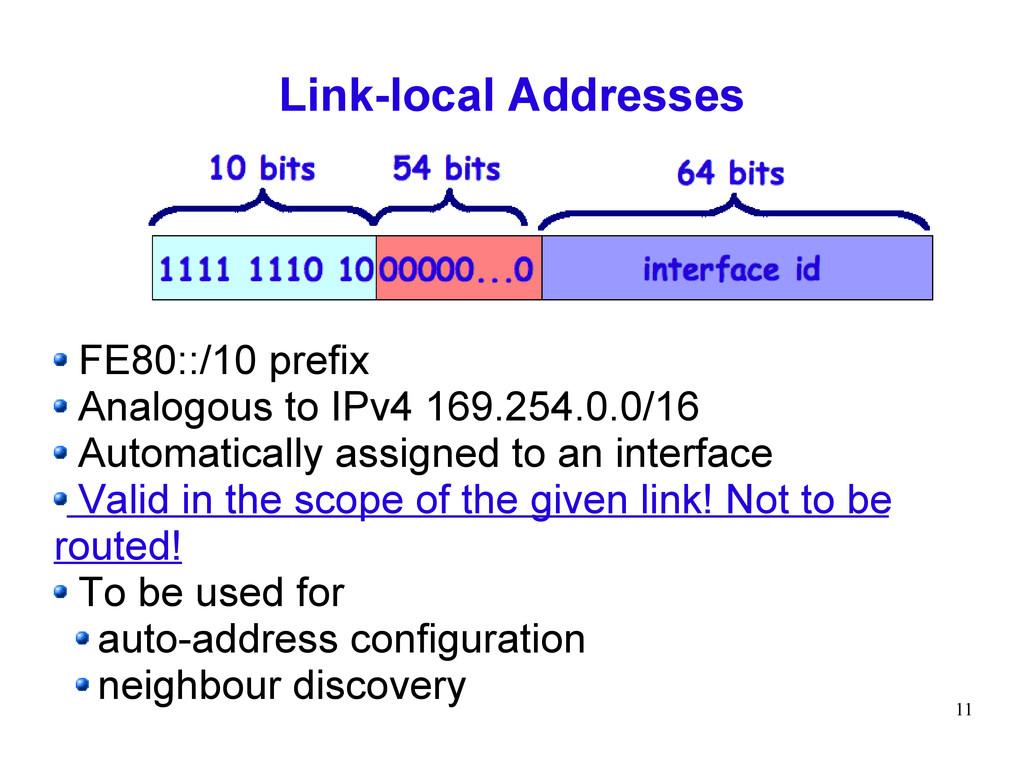 11 Link-local Addresses FE80::/10 prefix Analog...