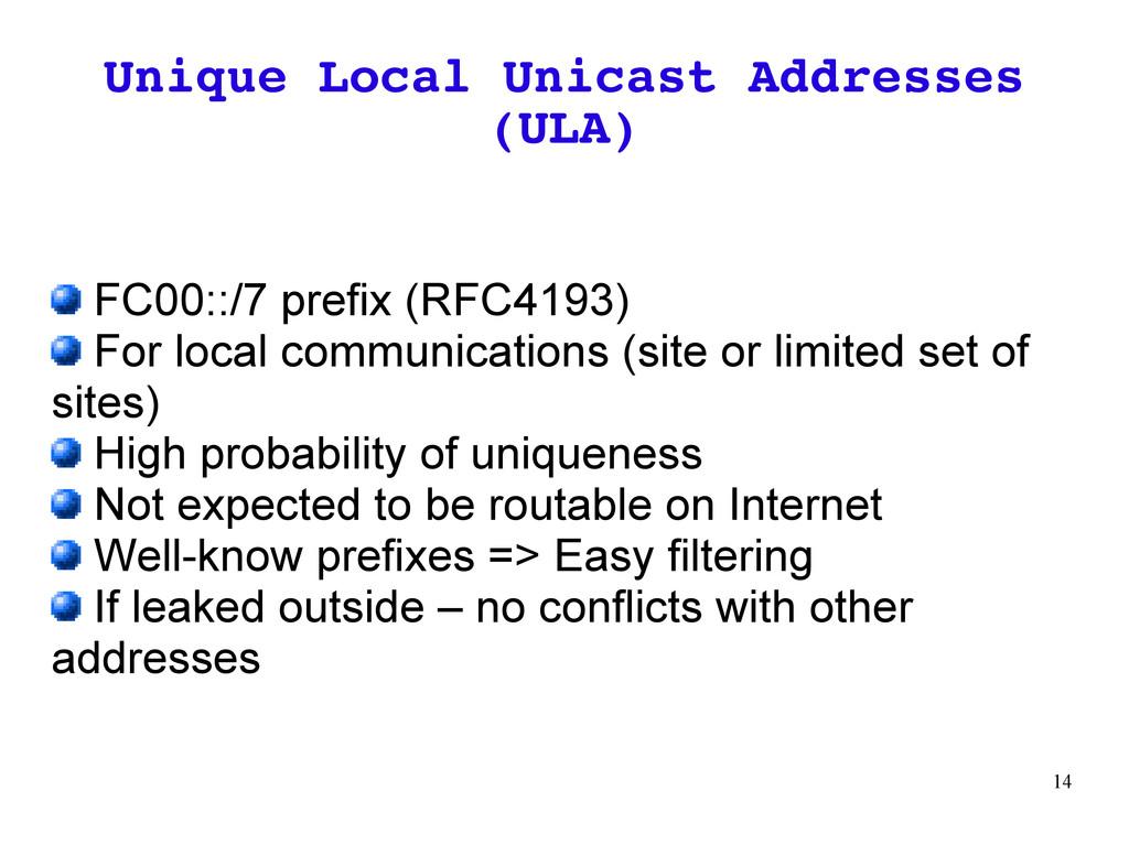 14 Unique Local Unicast Addresses (ULA) FC00::/...