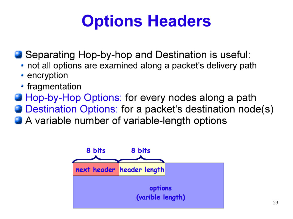 23 Options Headers Separating Hop-by-hop and De...