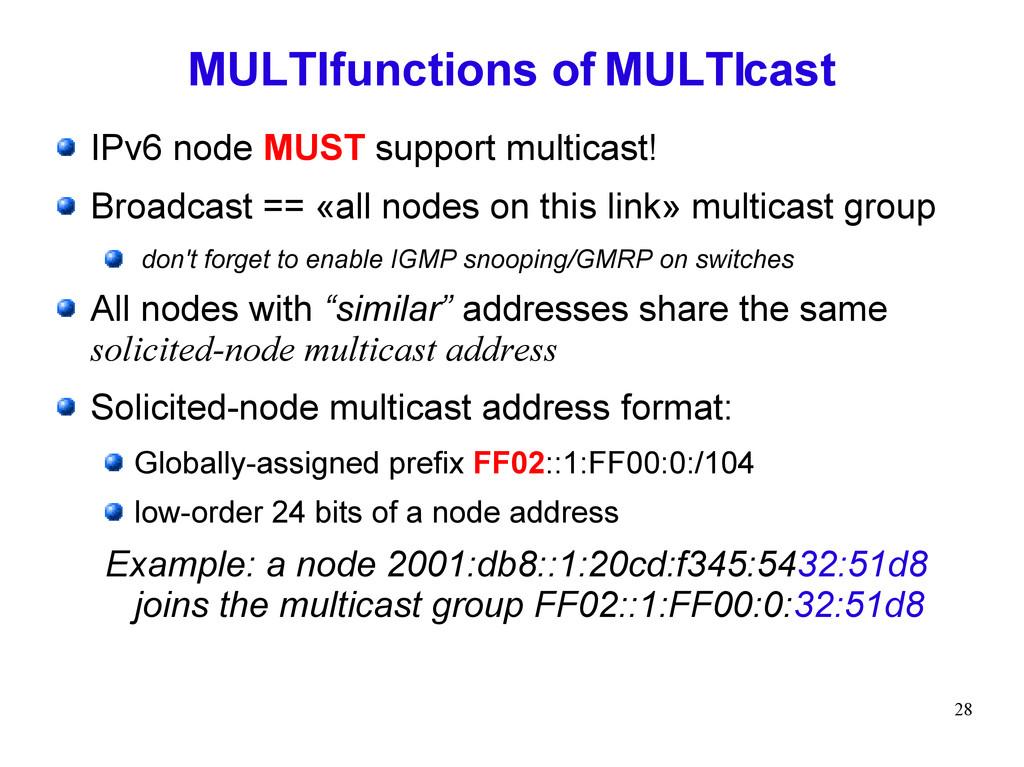 28 MULTIfunctions of MULTIcast IPv6 node MUST s...