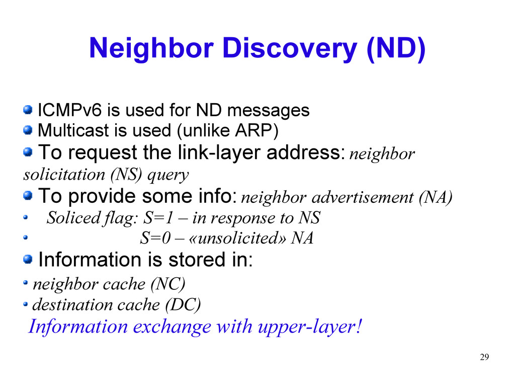 29 Neighbor Discovery (ND) ICMPv6 is used for N...