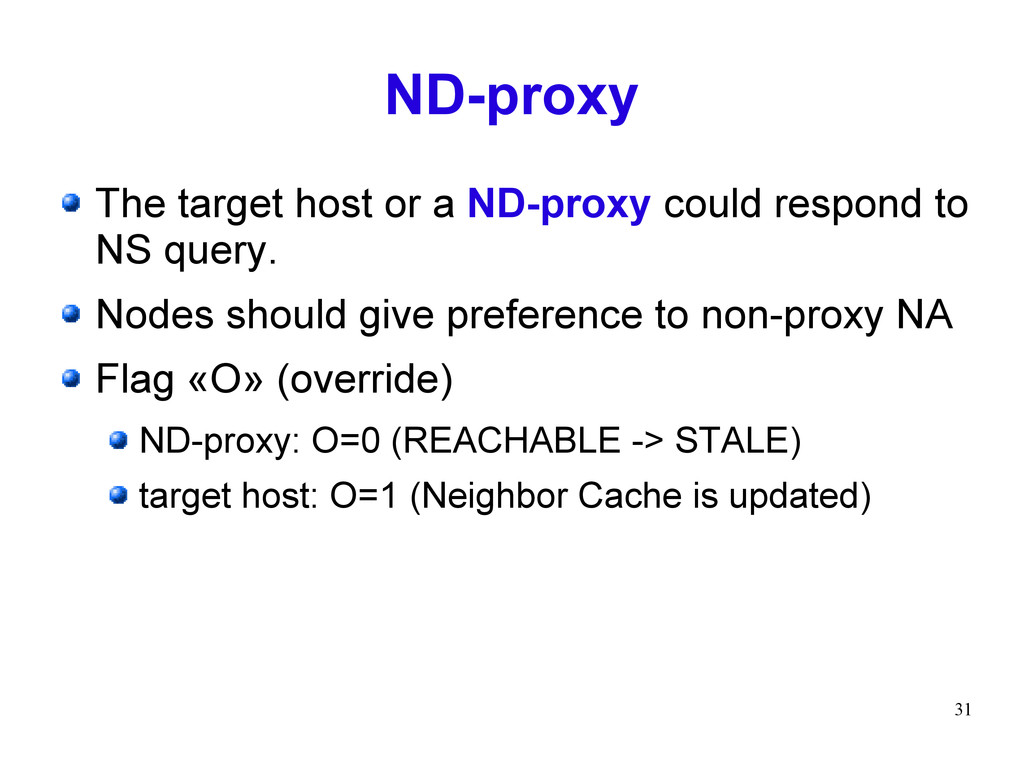 31 ND-proxy The target host or a ND-proxy could...