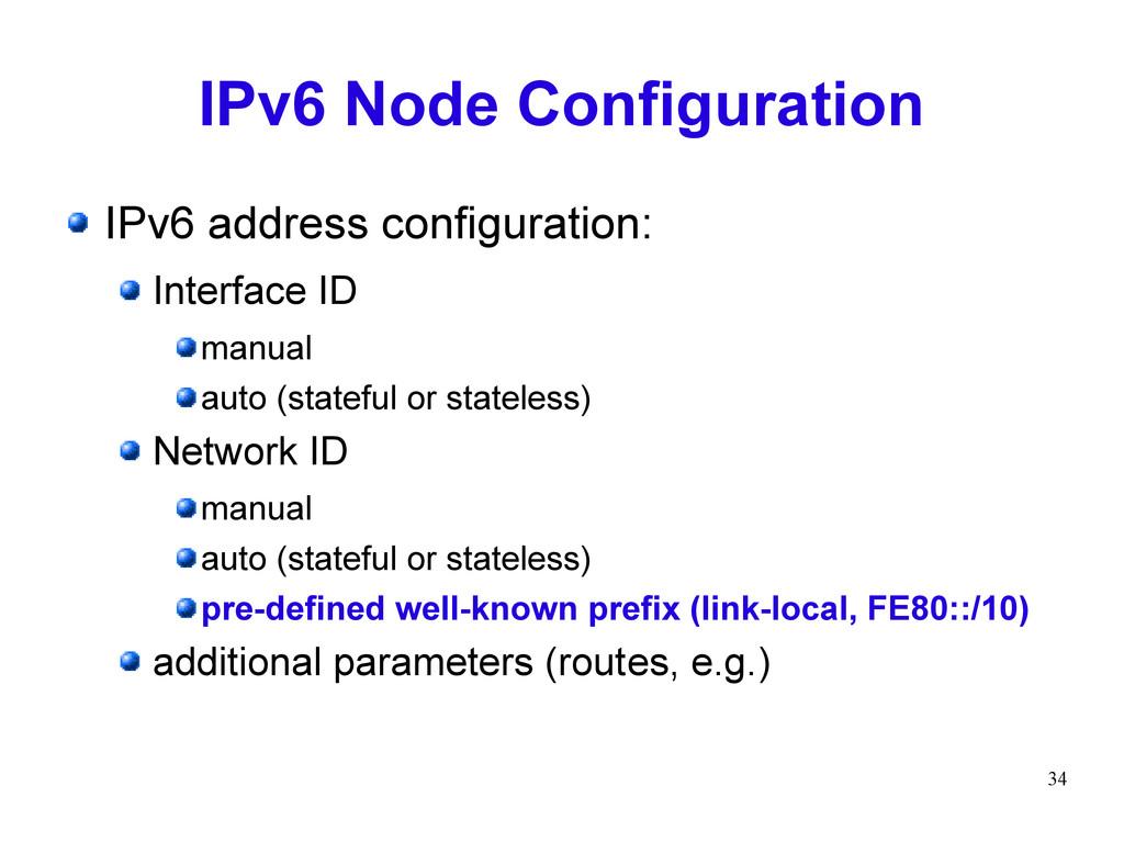 34 IPv6 Node Configuration IPv6 address configu...